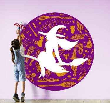 Halloween festival decorative home wall decal The design contains a flying witch with broom and other element features. Easy to apply and of quality.