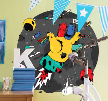 Decorative urban theme wall sticker for children and teens. The design is made in the form of space with chaos, it's featured with different elements.