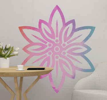 Vinilo de flores Edelweiss realizado en colores lila y rosa para decorar tu casa de forma brillante y bonita ¡Envío a domicilio!