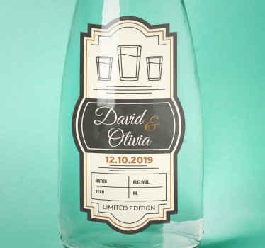 Dele a su invitado la mejor clase de regalo pegando esta pegatinas personalizadas para bodas de vodka ¡Envío a domicilio!