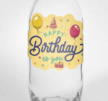 """Pegatina feliz cumpleaños para botella de vodka. Diseño con fondo amarillo, globos y la frase """" happy birthday to you"""" ¡Envío a domicilio!"""