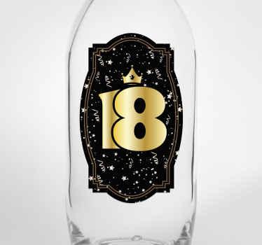 Pegatina de cumpleaños para pared de 18 años perfecto para colocar en botella. Diseño perfecto para superficie plana ¡Envío a domicilio!
