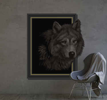3D wolf visual effects wall decal. It is designed on a frame style background surface with a visual effect of the wolf pulling out from it background.