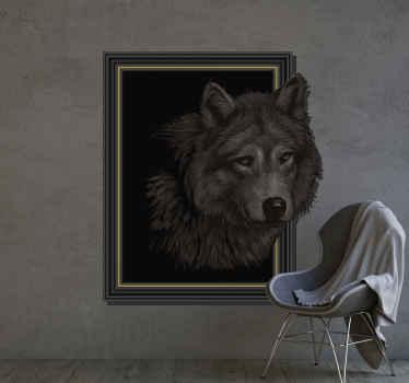 Vinilo pared 3d de lobo en un marco con un efecto visual del lobo saliendo del fondo. Diseño en tonos grises perfecto para salón ¡Envío a domicilio!