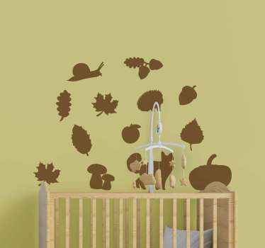 Decorative drawing wall sticker containing different features such as forest animals and plants. Available in different colour and size options.