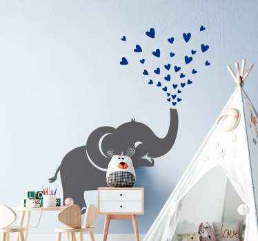 Cute decorative animal wall art decal. The little elephant is featured spraying heart blue shapes from it trunk. Easy to apply and highly durable.