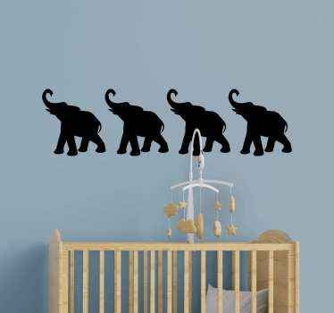Decorative set of elephant silhouette wall sticker for children bedroom  decoration. It is original and available in different size and colour options.