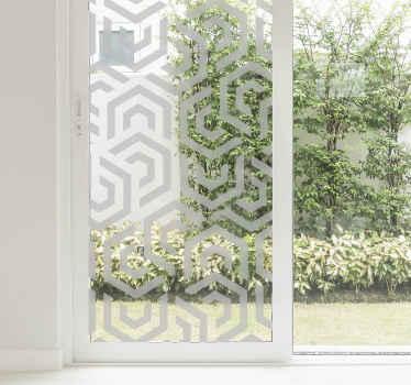 Geometrisk gennemskinneligt mønstret vinduesmærkat med stilfuld samling på en ordnet måde. Den er lavet af vinyl i høj kvalitet og virkelig nem at anvende.