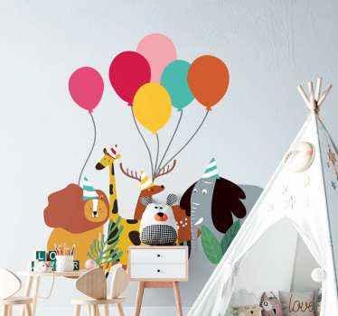 Palloncini colorati e animali adesivi murali illustrativi per bambini. Il design contiene diversi animali dei cartoni animati e palloncini colorati gonfiati.