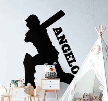 Customized name cricket  player sticker design.  A suitable design for kids and teens room who have interest and passion for cricket. Easy to apply.