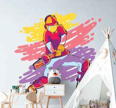 Un autocollant de peinture abstraite de joueur de cricket. Facile à appliquer et disponible en différentes tailles.