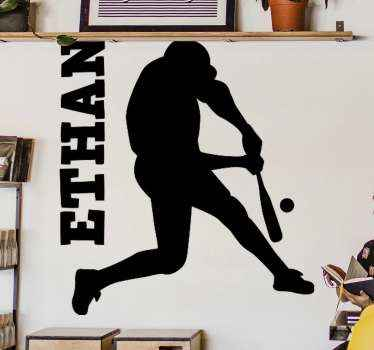 Personalized name cricket batsman player sticker. A suitable design for kids and teens room who have interest and passion for cricket.