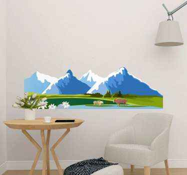 Beautiful landscape of mountains with animal decal that would suit nicely on any flat surface. It is made with high quality vinyl and easy to apply.
