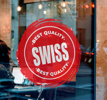 ビンテージスイススタンプラップトップデカールデザイン装飾的な店の窓、オフィス、ビジネスの場所はスイスの品質のシールを示します。