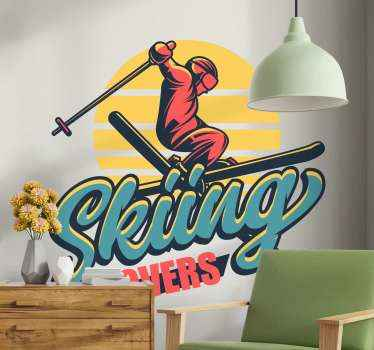 Lovely colorful silhouette Skiing sport sticker for teens bedroom. This design is suitable for teens who are enthusiastic about skiing.