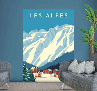Decorative mountains in alps Switzerland sticker to decorate any space of choice. Decorative for home and office space. Easy to apply on flat surface.