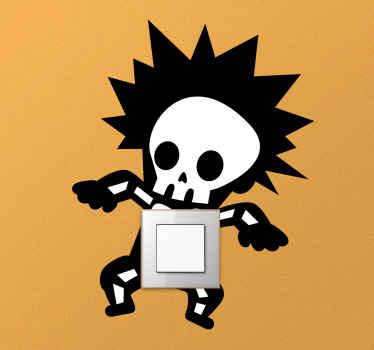 Geëlektrocuteerde skelet lichtschakelaar sticker om u lichtschakelaar ruimte te versieren. Makkelijk aan te brengen en gemaakt van hoogwaardig vinyl.
