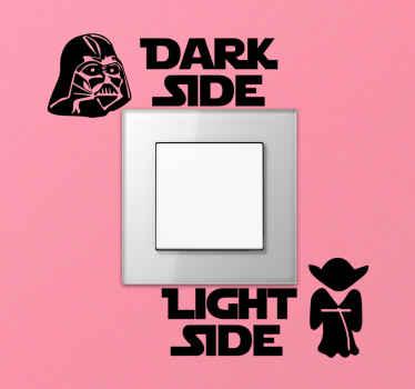 Mooie decoratieve tekst sticker voor lichtschakelaar die de positie aangeeft om het licht in en uit te schakelen. Makkelijk aan te brengen en van hoge kwaliteit.