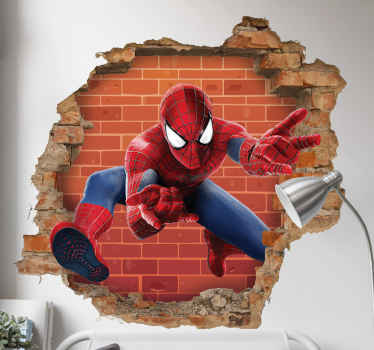 3D visual effect superhero wall sticker of spidermanto decorate the bedroom of your teen. It is original and really easy to apply.