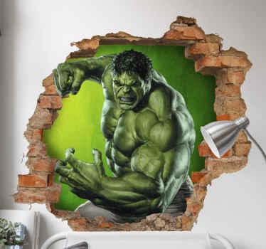 Adesivo fotomurale 3d effetto visivo di hulk per decorare la camera da letto dei tuoi ragazzi. è originale e di facile applicazione su qualsiasi superficie piana.