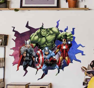 autocolante decorativo de parede com efeitos visuais de super-heróis vingadores 3d caracterizado com diferentes personagens de heróis de filmes e videogames.