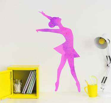 Decorative ballerina dancer silhouette wall sticker! A beautifuland colorful sport wall art decal for a girl's bedroom.