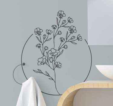 Ozdobna prosta naklejka kwiatowa, którą możesz wykorzystać do upiększenia dowolnej przestrzeni. Typowa roślina kwitnąca z okrągłą linią wokół.