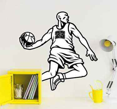 Drawing sticker of basketball player jumping to score.   A design to decorate the space of teen and kids with interest and passion for basketball.