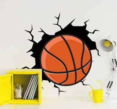 Okrasna 3d košara s športnimi nalepkami za poljubno okrasje. Dizajn z udarnim videzom košarke ob steni.