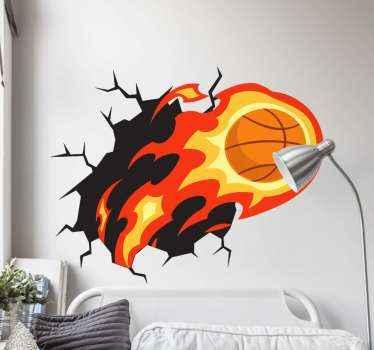 Dekorative 3D basketball sport Aufkleberfür teenager schlafzimmer Raum. Das basketball-design wurde mit einem feuerschlag-effekt erstellt.
