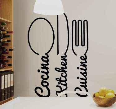 Un autocollant décoratif pour couverts de cuisine facile à coller sur le mur et sur les armoires de cuisine et les tiroirs.
