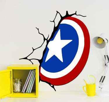 캡틴 아메리카의 방패 슈퍼 히어로 벽 데칼은 공간을 장식합니다. 캡틴 아메리칸 영화에서 수비와 공격을 묘사하는 상징적 인 장비.