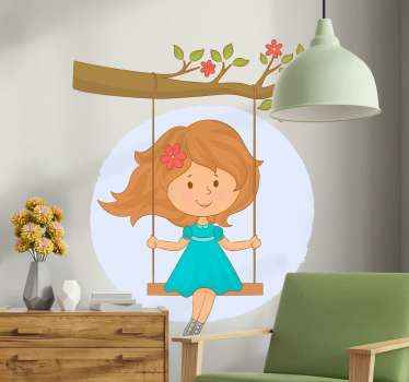 Decorative tree wall art sticker created with the design of a girl on  swing hanged on a tree. The design  is suitable for children bedroom space.