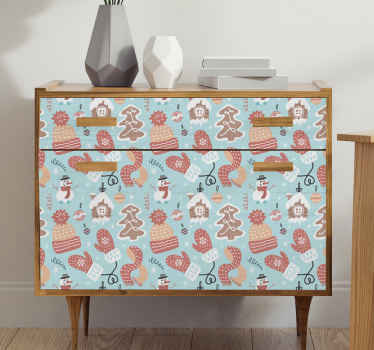 Papel adhesivo para muebles navideño de tonos azulados pastel y con motivos navideños para decorar. Fácil de retirar ¡Envío a domicilio!