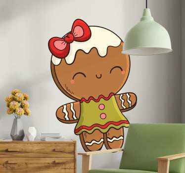 Decorative gingerbread girl Christmas decal. Suitable interesting design for a girl. The design can be applied on any flat surface of choice.