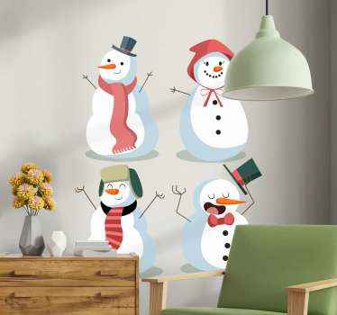 Decorative different style of snowman sticker for Christmas. Beautify and enhance any space for Christmas with this amazing four design of snowman.