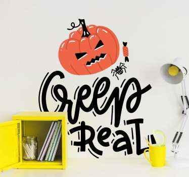 Decoratieve illustratieve pompoen halloween sticker geschikt voor kinderen slaapkamer decoratie voor halloween. Het ontwerp bevat een uitgesneden oranje pompoen.