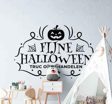 Fijne halloween tekst sticker met het ontwerp van een uitgesneden pompoen omsloten door een stijlvolle achtergrond. Het heeft de tekstinscriptie 'trick or treat'.