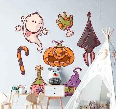 Autocollant approprié de figures illustratives d'halloween incluant citrouille sculptée, un bâton de bonbon, un fantôme, une sorcière, un chapeau et plus