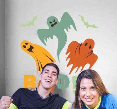 Illustratief spook halloween stickers geschikt voor kinderkamer decoratie voor halloween. Het ontwerp bevat verschillende vliegende geest.
