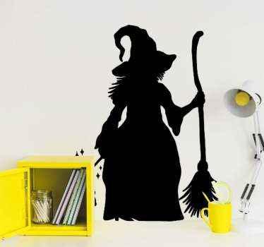 Een decoratief illustratief halloween embleem ontwerp van een heks met kat. De heks met kat en bezem sticker is verkrijgbaar in ongeveer 50 verschillende kleuren waaruit u kunt kiezen.
