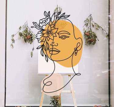 Okrasna nalepka portret ženske. Ta zasnova bi bila idealna izbira za poslovno mesto, ki se ukvarja z modnimi in lepotnimi izdelki in storitvami.