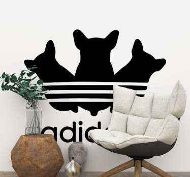 アディダスのロゴに似たテキストとキャラクターの特徴で作成されたかわいいデザインの犬のステッカーのセット。適用が簡単で高品質です。