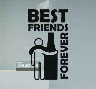 Ontwerpidee voor gekke drank sticker voor liefhebbers van bier en alcoholische drankjes. Een flessentekening met illustratiepictogram van een persoon die de fles knuffelt.