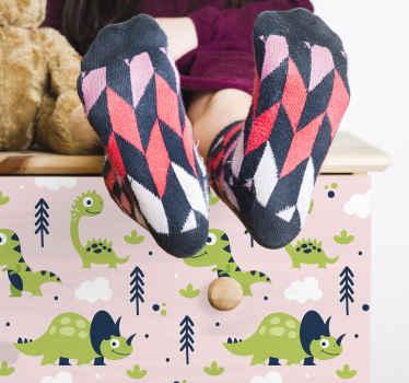 小さな緑の恐竜の動物の家具のステッカー。デザインには小さな恐竜のさまざまなデザインが含まれており、子供の寝室に適しています。