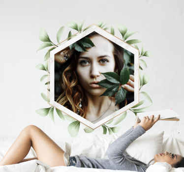 Decorative foliage frame wall sticker personalizable with your own image. You can upload your own image for the design to be modified in your image.