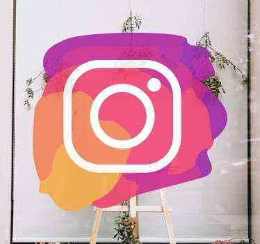 Adesivo in vinile per finestre con icone instagram per decorare il tuo spazio aziendale per informare clienti e clienti che sei su instagram.