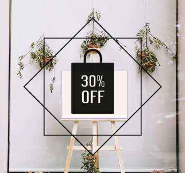 Decorative shop front window sticker! it is customizable to meet any need. A quadrilateral shape drawing with discount price sales tag.