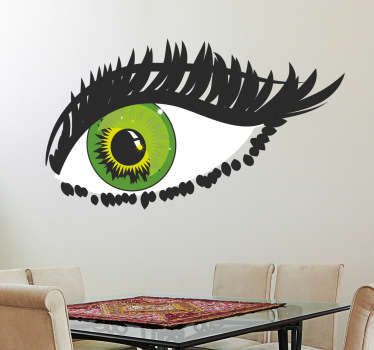 Sticker of a green eye with a great interesting touch to it. Decorate your walls at home with this amazing decal.
