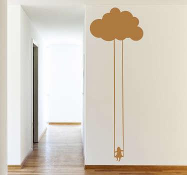 Copil pe un decalaj cu un leagăn de nor